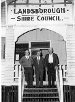 Ted Roberts Shire Clerk, Jack Beausang Shire Chairman and Councillor Dave Hankinson, Landsborough Shire Council, ca 1970
