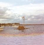 Primitive La Balsa raft moored in Mooloolaba Harbour after its arrival, November 1970