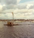 La Balsa raft moored in Mooloolaba Harbour after its arrival, November 1970