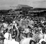 Crew of La Balsa raft arriving at the Maroochy Shire Council Chambers after a parade through Currie Street, Nambour, 6 November 1970