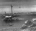 La Balsa raft moored in the Mooloolaba River near the Mooloolaba Yacht Club, ca 1970